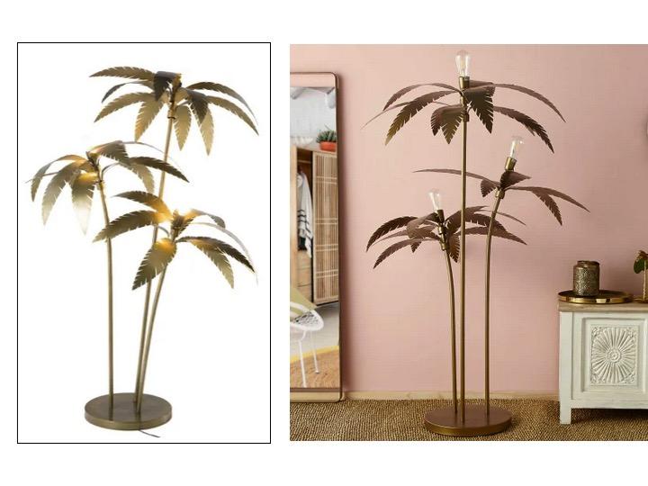 lampadaire palmier laiton 3 branches