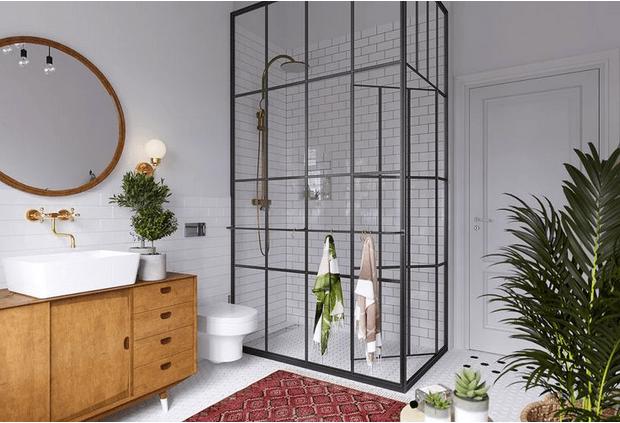 la paroi de douche style verrière dans la salle de bain