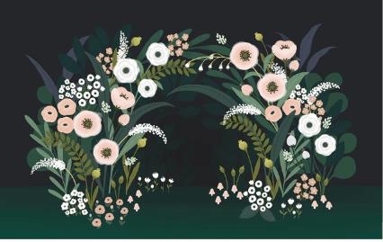 arche fleuri papier peint lilipinso