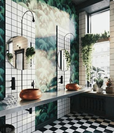 papier-peint-salle-de-bain-jungle-tropical-double-vasque