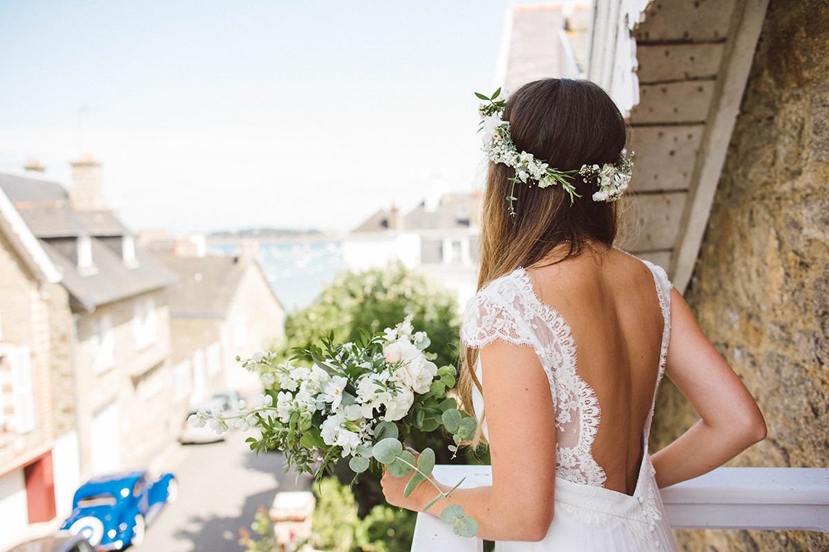 Bouquet de mariée bohème à Dinard par Bloomette le bouquet local