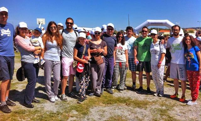 Participantes na Caminhada do Pijama