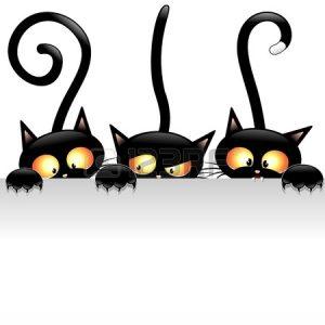 21975874-drole-de-chats-noirs-de-bande-dessinee-avec-le-panneau-blanc