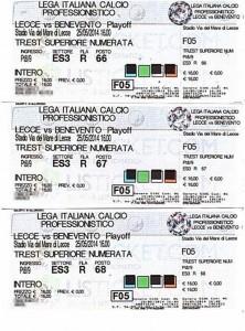 Biglietti Lecce-Benevento ritorno play-off