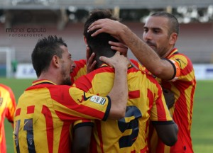esultanza Lecce con Matera Coppa Italia LP - Diop, Abruzzese, Carrozza