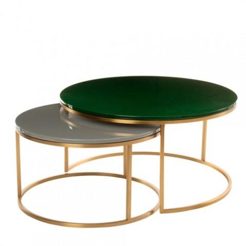 set table basse gigogne glossy de pols potten vert fonce et gris