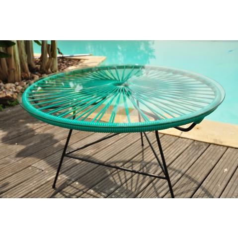 table basse zipolite de boqa avec structure noire vert turquoise