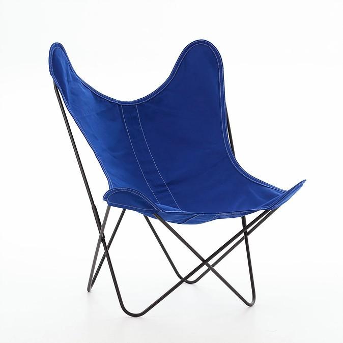 fauteuil aa de airborne structure acier thermolaque noir toile bleu outremer
