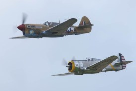 Curtiss P-36C N80FR and Curtiss P-40C G-CIIO - 01 Flying Legends 2015
