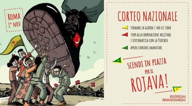 La Rete delle Città in comune aderisce alla manifestazione del 1 novembre contro l'attacco alla Siria e in solidarietà con il  popolo kurdoa