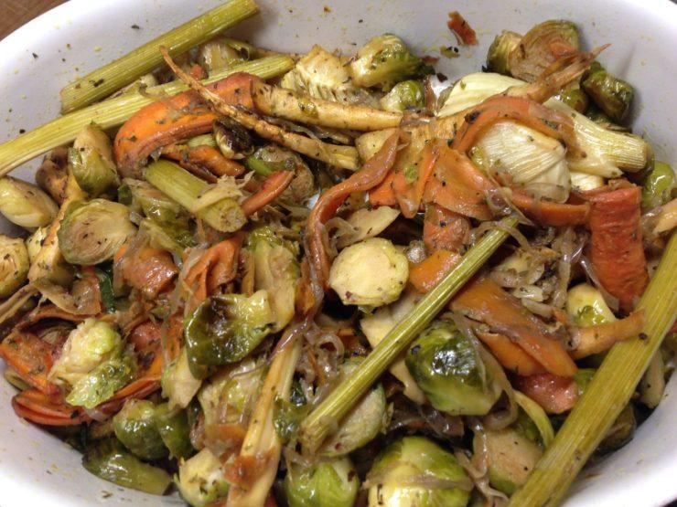 Rosenkohl Gemüse mit Fenchelund Möhren