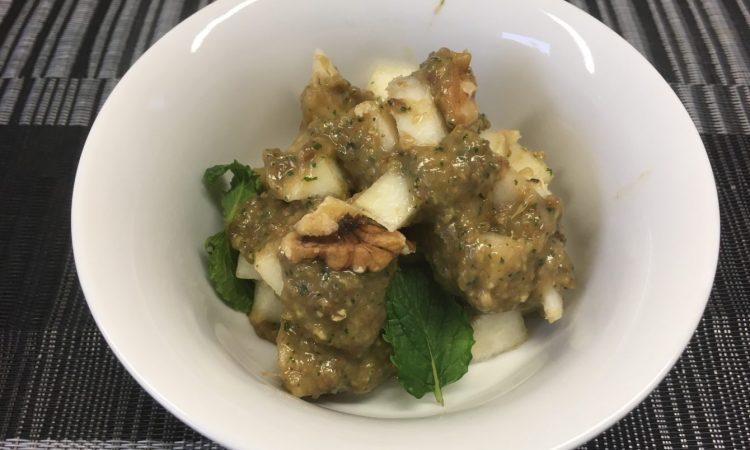 Birnen Walnuss Salat mit Bananen-Aprikosen-Kokosnuss-Creme