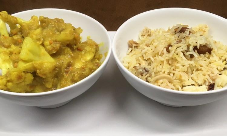 Blumenkohl Bananen Kokosnuss Curry mit Aprikosen-Gewürz-Reis
