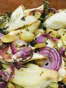 Fenchelgemüse mit weißen Trauben