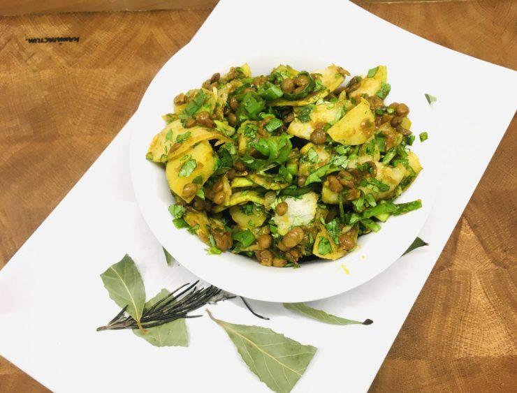 Kartoffel Birnen Salat mit Curry Linsen