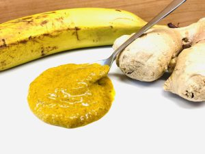 Curry Dip mit Bananen, Tahini, Ingwer und Orange