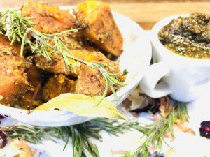 Geröstete SüßKartoffeln mit Kräuter Nuss Marinade