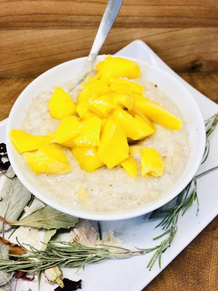 Klebreis Porridge mit Kaki