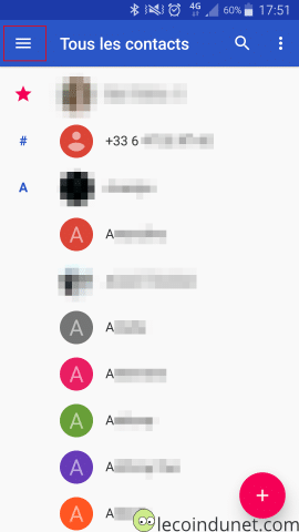 Android Google Contact - Liste des contacts