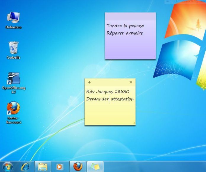 exemple post-it windows 7