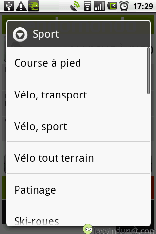 types de sport endomondo Android