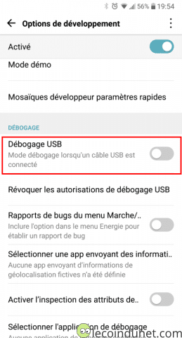 Android - Activer débogage USB