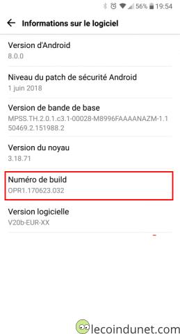 Anroid - Numéro de build
