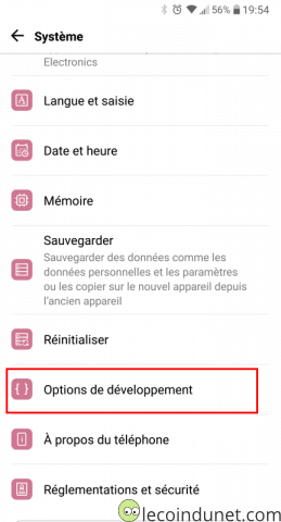 Android - Options de développement