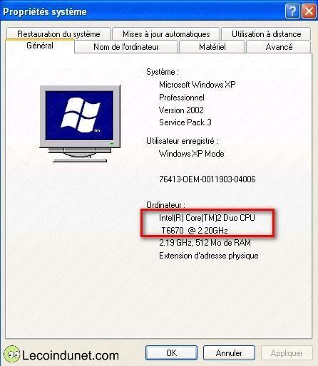 exemple cpu windows xp