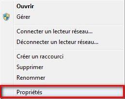 propriétés Icône Ordinateur windows 7