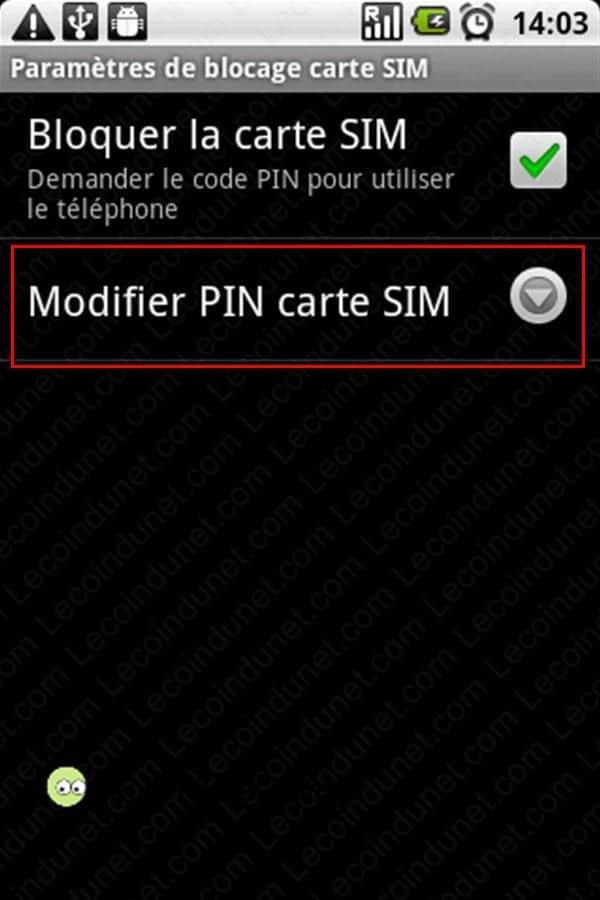 Modiifer PIN carte SIM