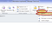 bouton actions outlook 2010