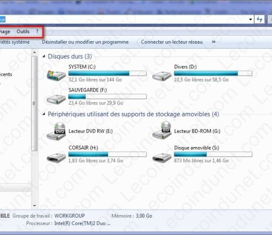 afficher menu windows 7
