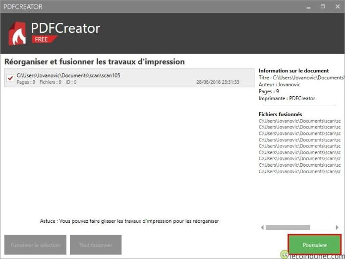 PDFCreator - Poursuivre