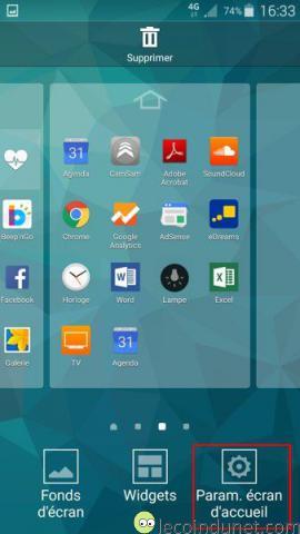 Android 5 - Param ecran d'accueil