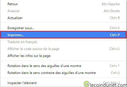 Google Chrome - Option  imprimer