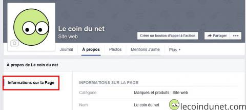 Page facebook - Information sur la page