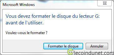 Windows - Vous devez formater le disque du lecteur