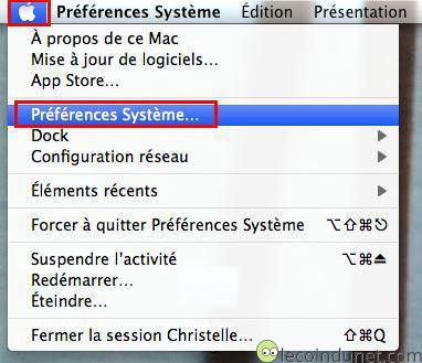 Mac OS - menu Pomme - Préférence système