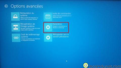 Windows 10 - Démarrage avancé - Paramètres