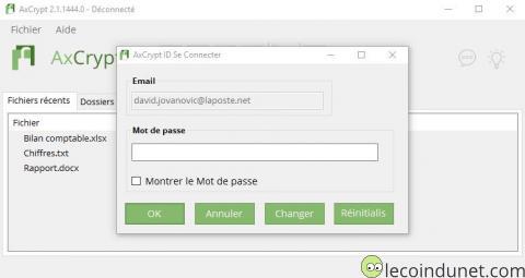 AxCrypt - Mot de passe pour accéder un fichier