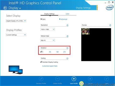 Intel graphic - Rotation affichage