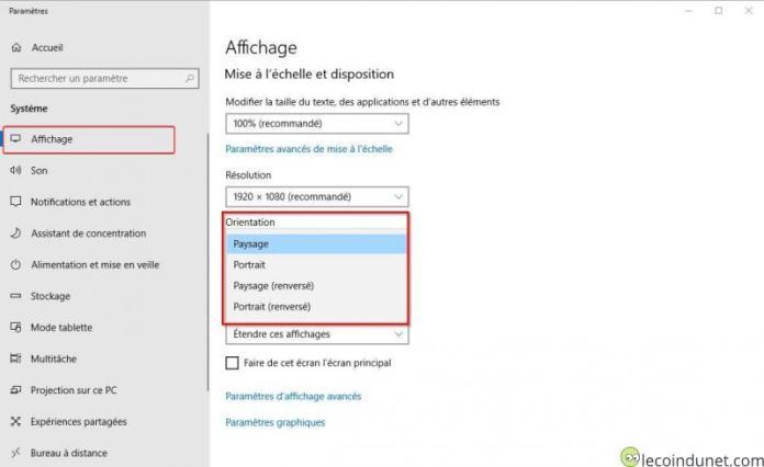 Windows 10 - Rotation affichage