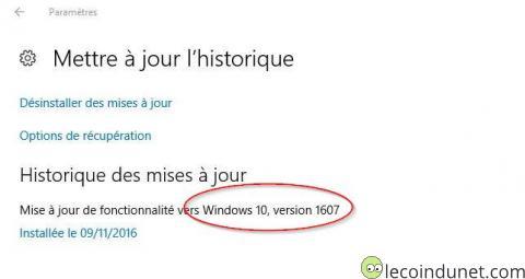 Windows 10 - Mise à jour 1067 installée