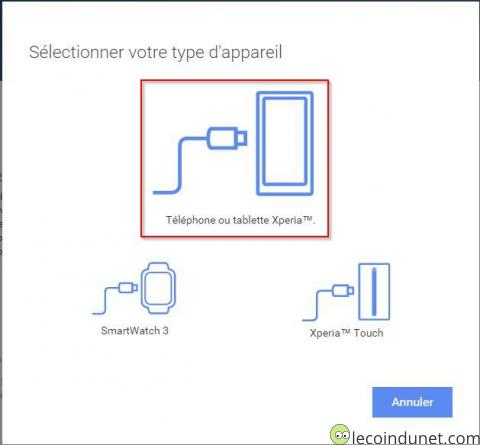 Xperia Companion - Selection type appareil