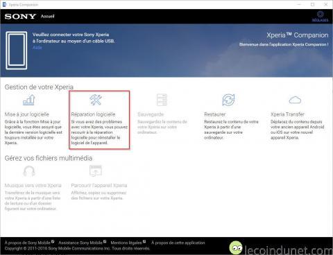 Xperia Companion - réparation logicielle
