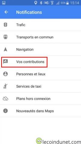 Google Maps - Menu Vos contributions