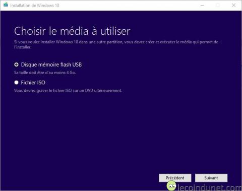 Windows 10 - MediaCreationTool Choix d'un média