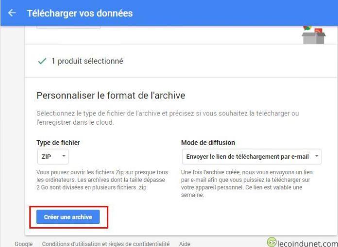 Google takeout - Créer archive