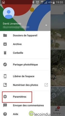 Google photos - Option Paramètres